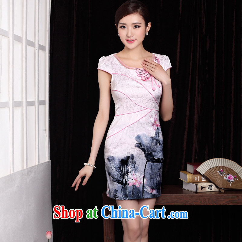 qipao cheongsam dress summer fashion 2014 new ink stamp improved retro beauty routine qipao white XXXL
