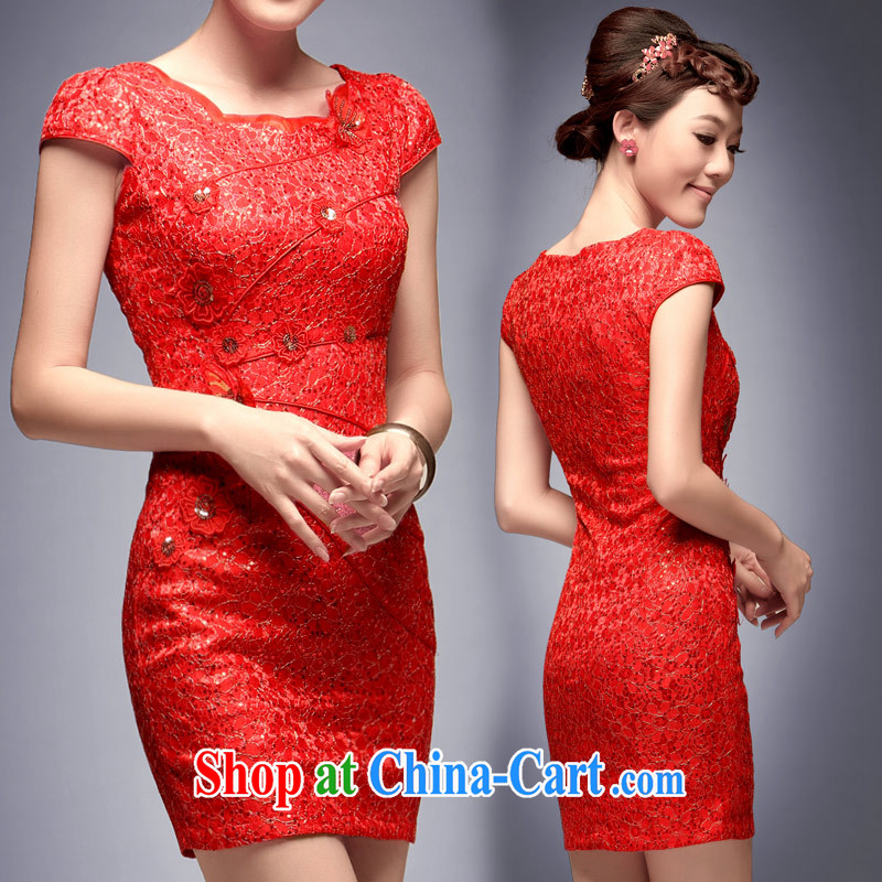 Dresses bridal gown lace red bows clothes retro improved stylish 2014 new wedding dresses red L