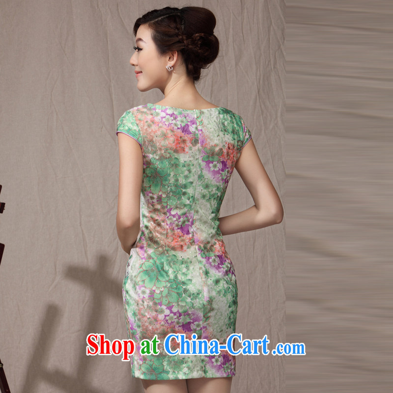 qipao cheongsam dress 2014 new summer fashion V for cultivating charisma middle-aged mother's day with green XXXL