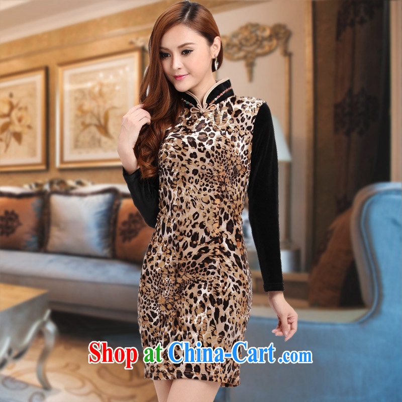 Improved cheongsam stylish wool long-sleeved 2014 autumn and winter new dresses stitching beauty sexy dresses brown XXXL