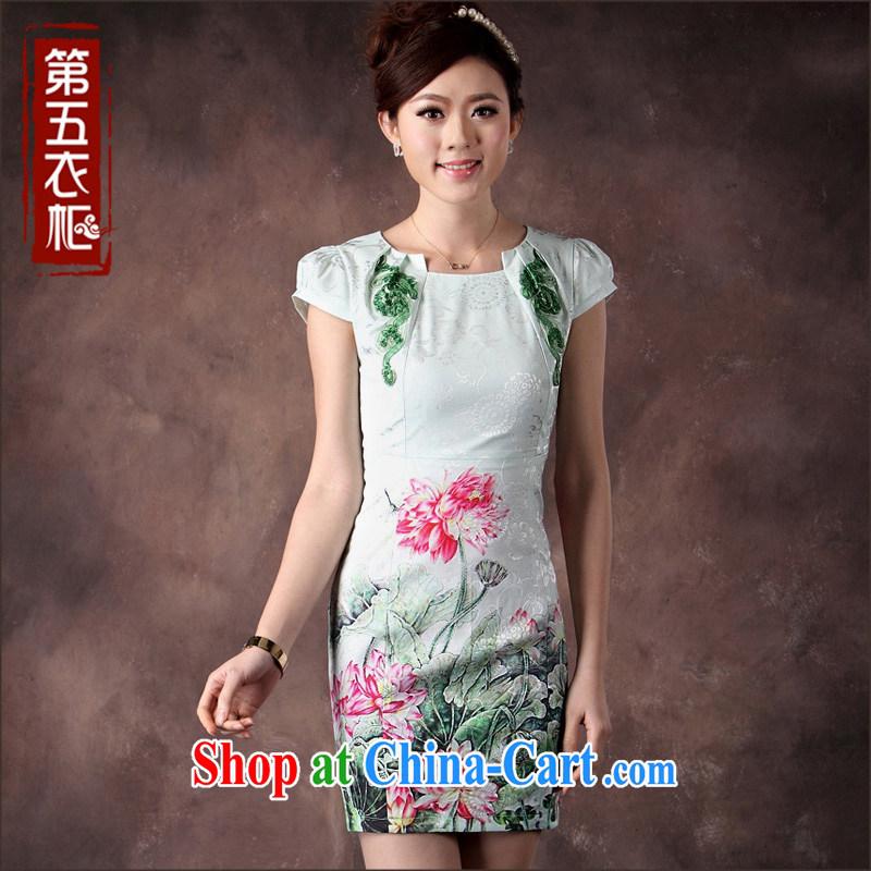 qipao cheongsam dress summer fashion 2014 new Chinese three-dimensional embroidery beauty bubble cuff green qipao XXL