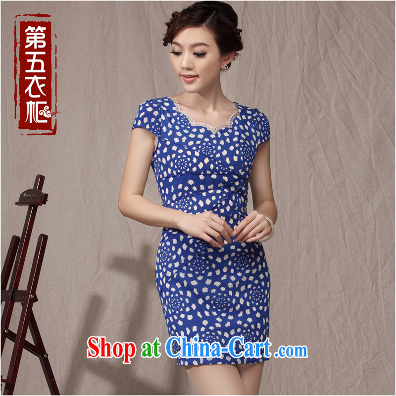 qipao cheongsam new 2014 summer improved blue and white porcelain round-collar small incense, cultivating daily female Ki robe blue XXL