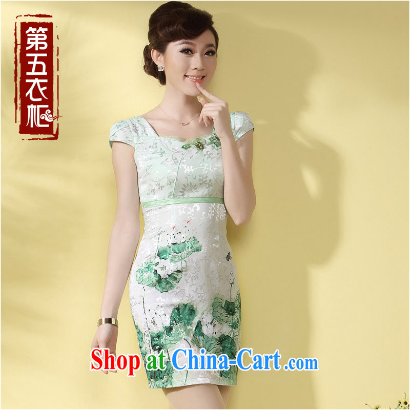 qipao cheongsam new 2014 summer lace dresses beauty charm small Hong Kong Wind girls day-robe, green XXL