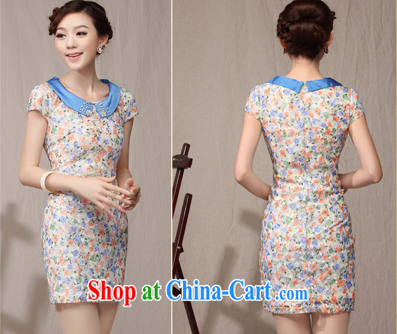qipao cheongsam dress 2014 new summer dresses lady floral beauty small fragrant wind daily qipao blue XXL pictures, price, brand platters! Elections are good character, the national distribution, so why buy now enjoy more preferential! Health