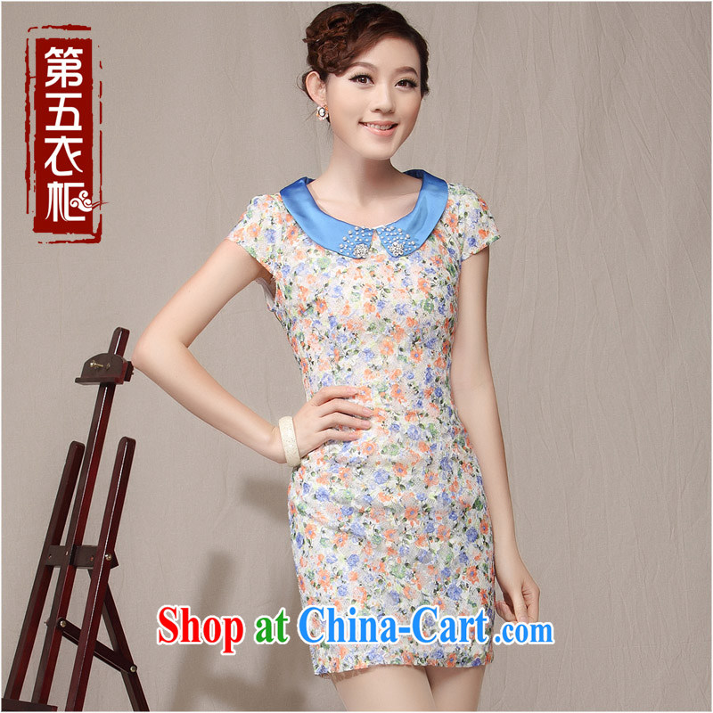 qipao cheongsam dress 2014 new summer dresses lady floral beauty small fragrant wind daily qipao blue XXL