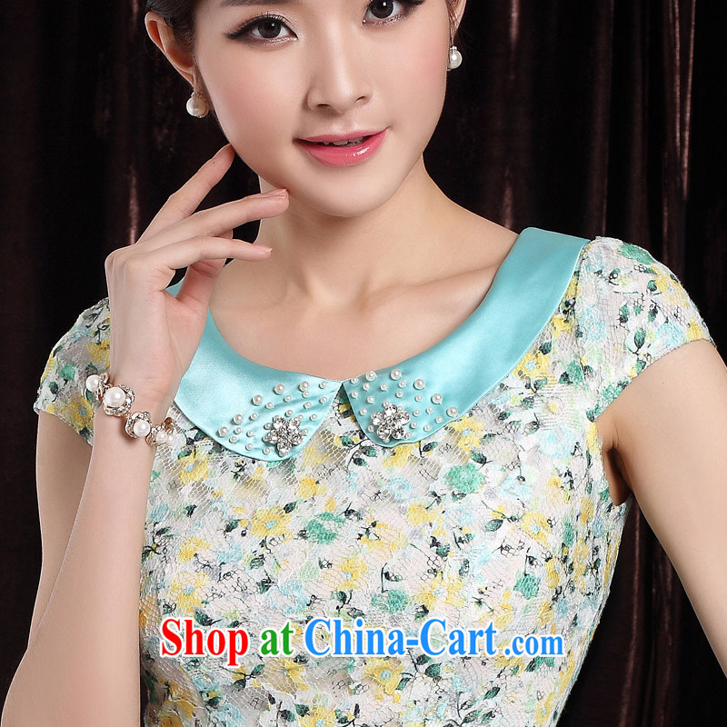 qipao cheongsam dress 2014 new summer dresses lady floral beauty small fragrant wind daily qipao blue XXL, the cheongsam/Tang, and shopping on the Internet