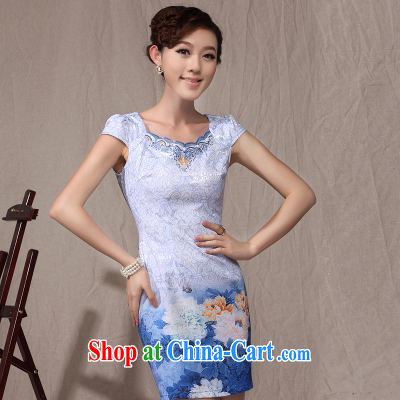 qipao cheongsam dress summer fashion 2014 new Chinese Chinese Lotus stamp beauty style Ki robe green XXL