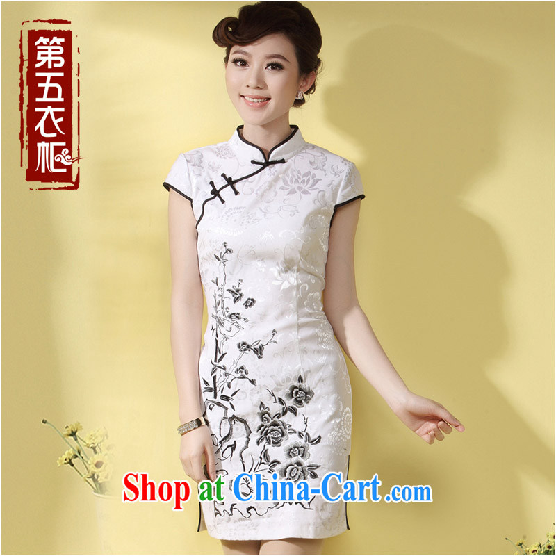 qipao cheongsam dress summer fashion 2014 new, long antique Chinese Chinese mother load qipao white XXXL