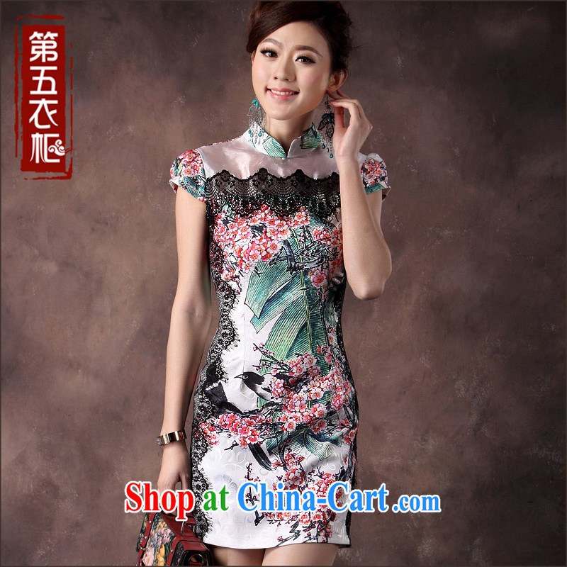 qipao cheongsam dress summer fashion 2014 new elegance cultivating middle-aged mother dress skirt green XXL