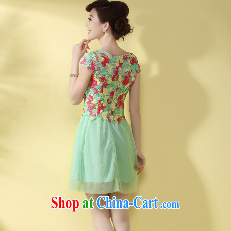 qipao cheongsam dress 2014 new summer style sexy lace teenage beauty Chinese antique dresses green XXL