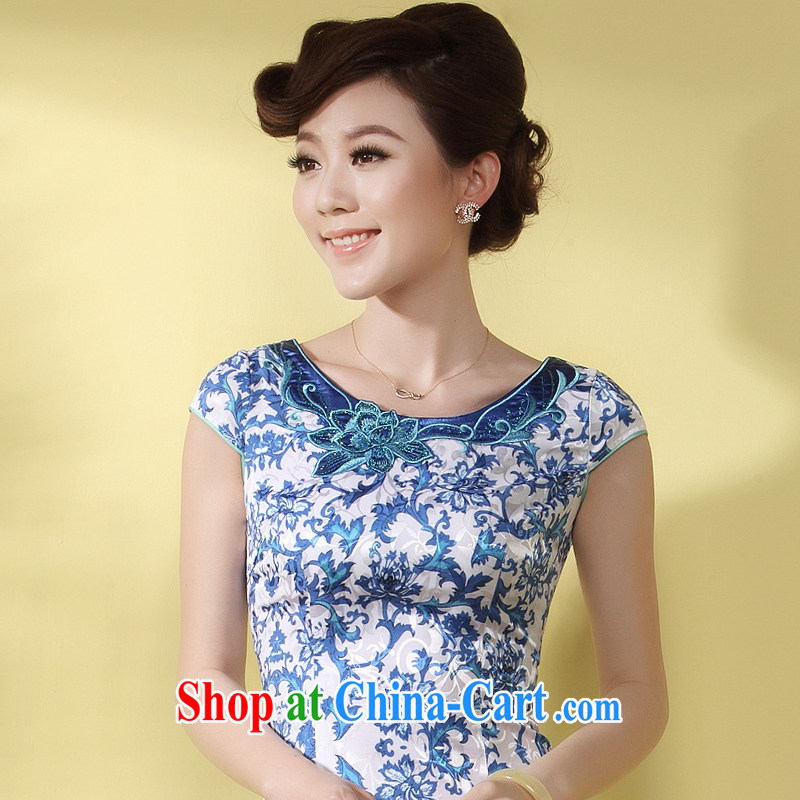 qipao cheongsam dress summer fashion 2014 new retro floral Chinese Chinese embroidered MOM dress blue XXXL
