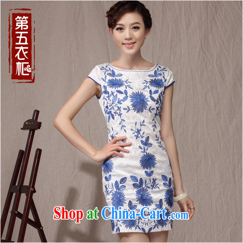 qipao cheongsam dress improved stylish 2014 summer new porcelain was short, elegant beauty female qipao white orchids XXL