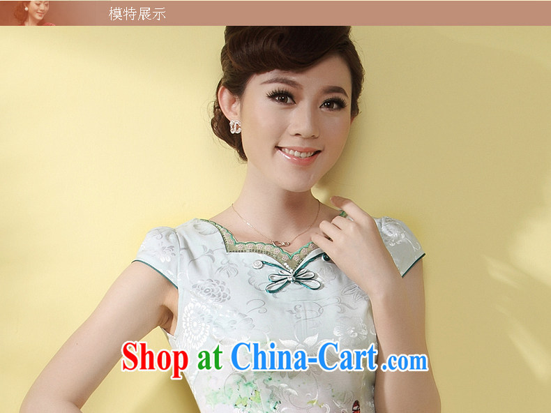 qipao cheongsam dress improved stylish summer 2014 new Chinese-tie short temperament daily qipao green XXL pictures, price, brand platters! Elections are good character, the national distribution, so why buy now enjoy more preferential! Health
