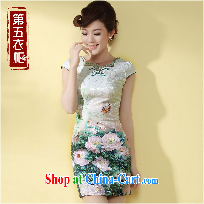 qipao cheongsam dress improved stylish summer 2014 new Chinese-tie short temperament daily qipao green XXL