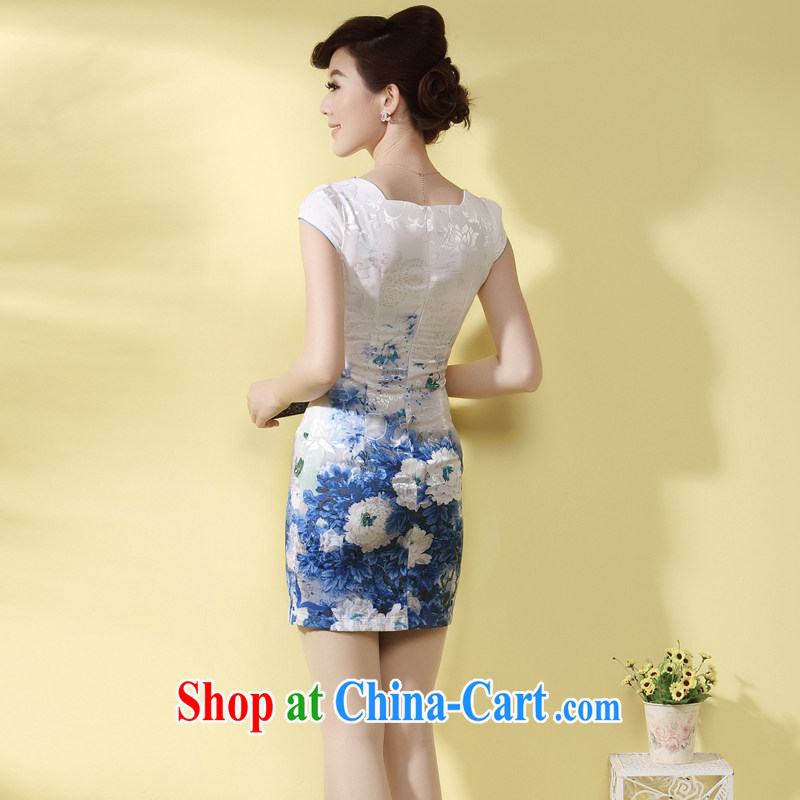 qipao cheongsam dress improved stylish summer 2014 new Chinese-tie short temperament daily qipao green XXL, since in that shopping on the Internet