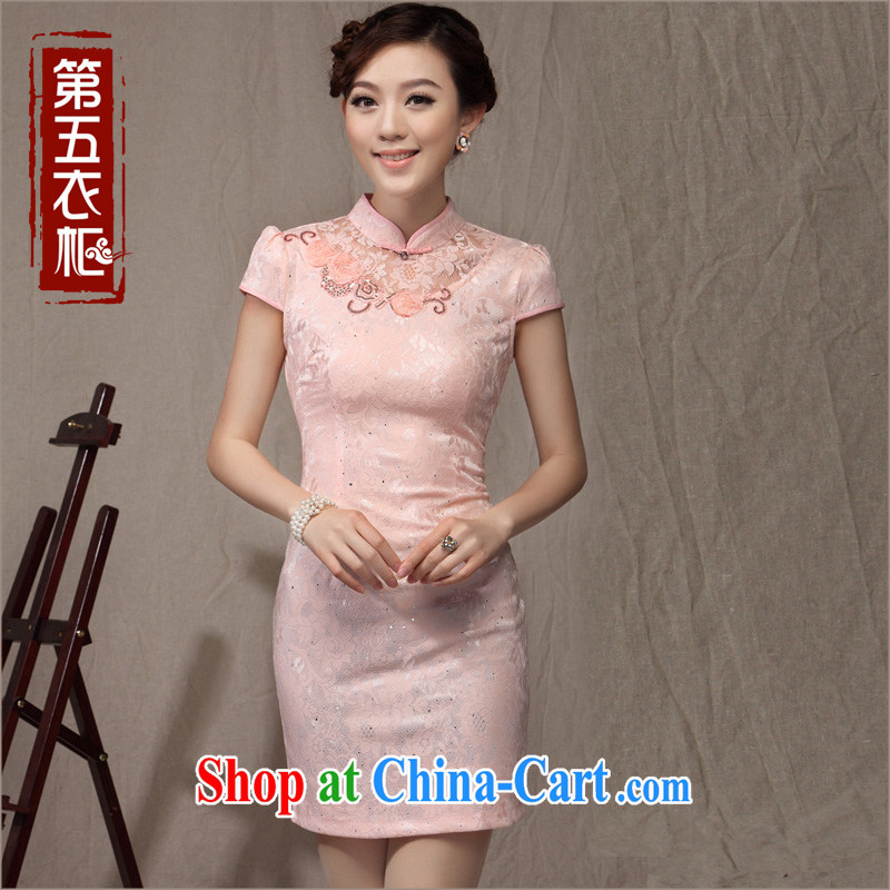 qipao cheongsam dresses new 2014 summer improved fashion beauty style lady daily qipao pink XXXL