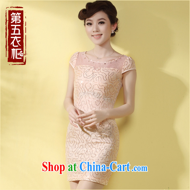 qipao cheongsam dress summer trendy short 2014 new lady Aura with Tang, lace qipao, pink XXL