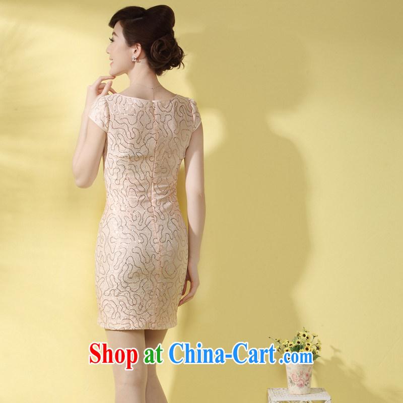 qipao cheongsam dress summer stylish short 2014 new Lady style Tang load, lace qipao, pink XXL, the cheongsam/Tang, and shopping on the Internet