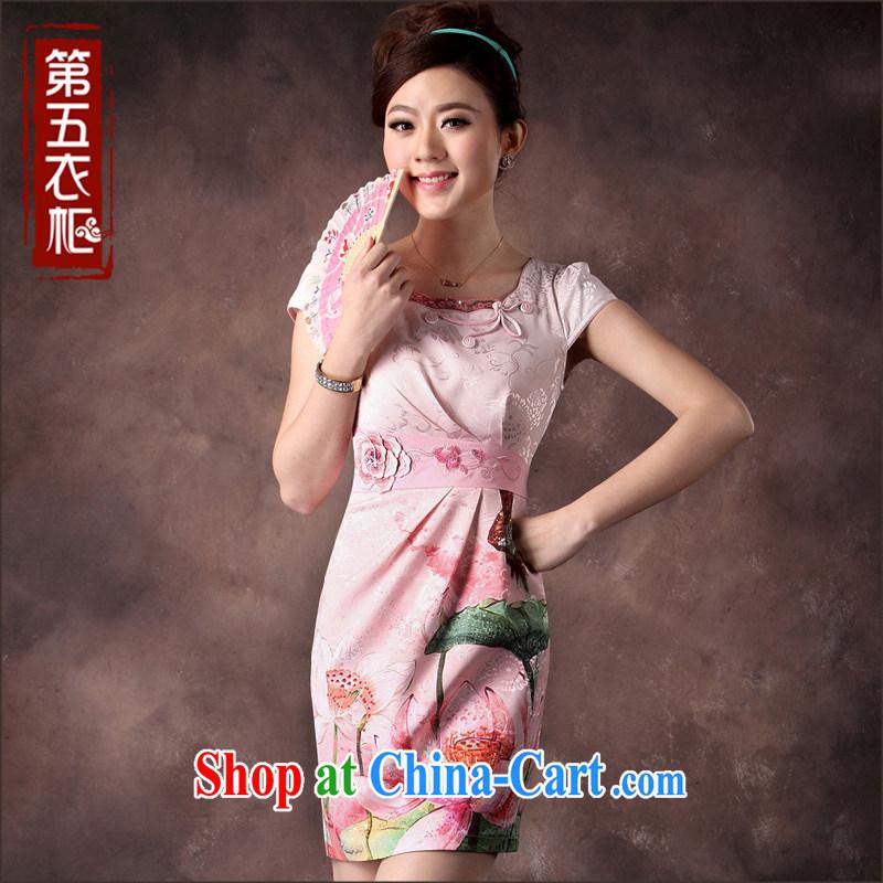 qipao cheongsam dress summer fashion 2014 new 100 fold the waist Lotus National wind qipao pink XXXL