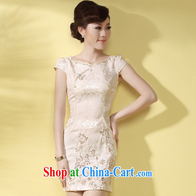 qipao cheongsam dress summer wear and stylish short 2014 new embroidery cultivating improved elegant qipao apricot XXL