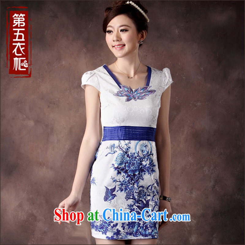 Dresses 2014 summer new cheongsam stylish improved fresh arts embroidery girls beauty salon, dress white XXL