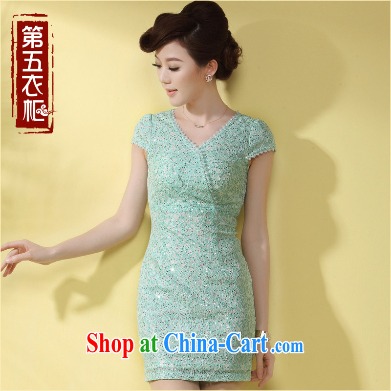 Dresses 2014 summer new cheongsam dress ladies solid color lace-style name-yuan banquet dresses green XXL