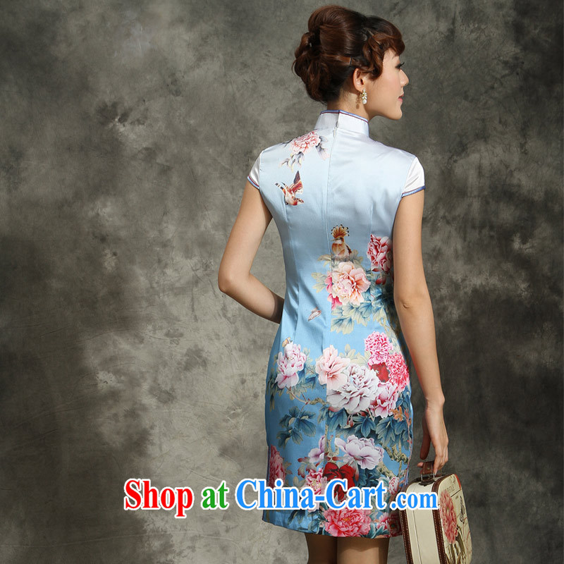 cheongsam Silk Cheongsam dress summer 2014 with new Silk Cheongsam dress-fasteners are cheongsam dress blue Peony blue Peony XXL