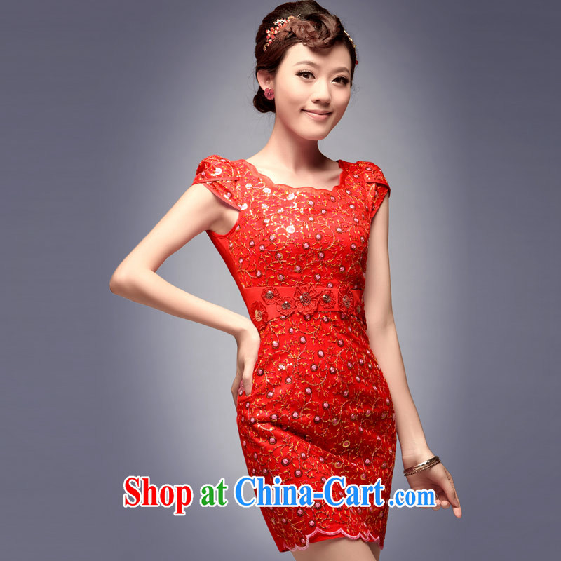 2014 dresses, embroidered fashion bridal red short, cultivating daily celebration banquet dresses red M