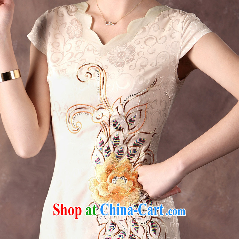 Dresses 2014 summer new cheongsam dress Ethnic Wind, embroidered beauty and elegant qipao apricot XXL