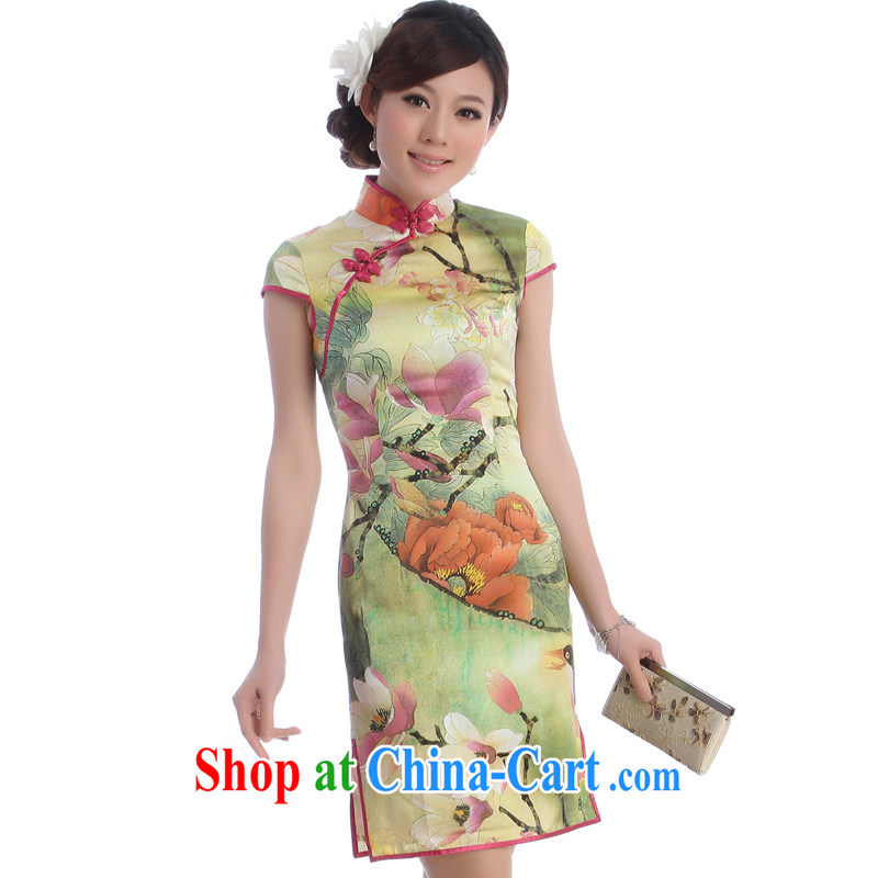 cheongsam Silk Cheongsam improved stylish summer 2014 the code sauna beauty silk gowns, skirts So-yuk Orchid green XXL