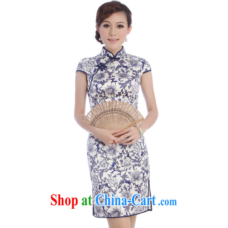 cheongsam Silk Dresses 2014 new stylish and improved genuine cheongsam dress summer long, blue and white porcelain blue XXL