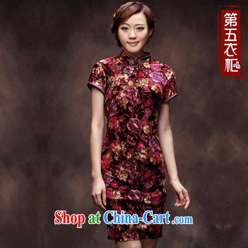 STANDARD OUTFIT velour cheongsam dress festive short, middle-aged mother larger wedding dresses improved skirt mauve spend 4 XL