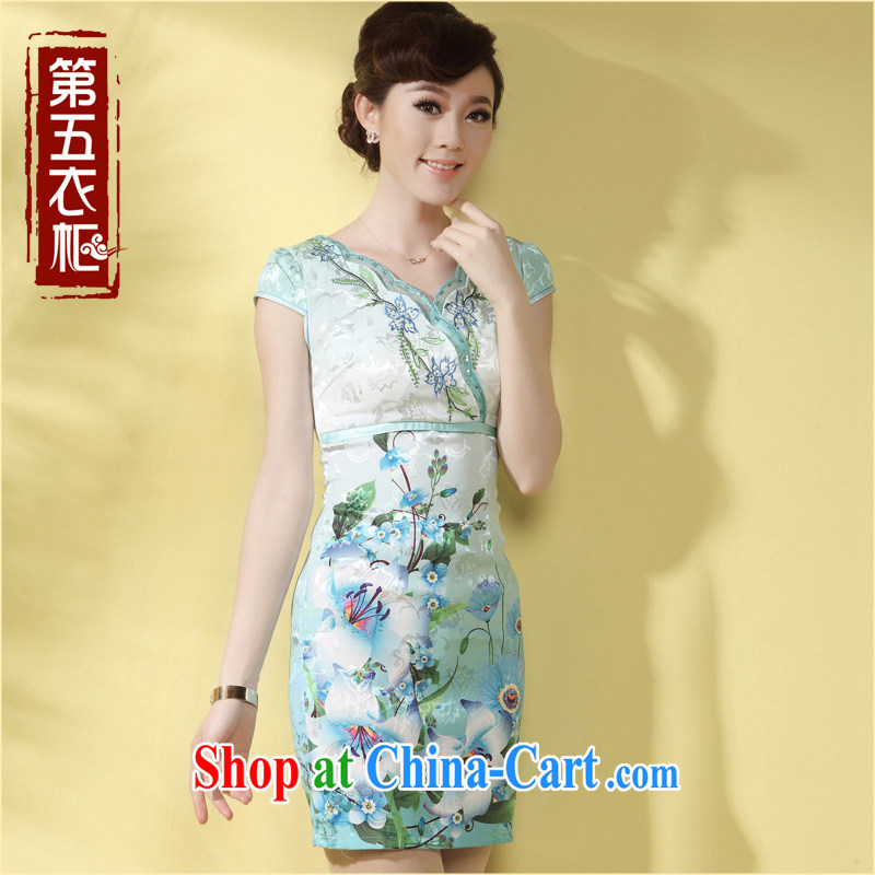 Dresses 2014 summer new, improved cheongsam dress V for sense of the waist idyllic daily Kei robe skirt light green XXL