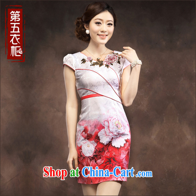 Dresses 2014 summer new cheongsam dress, short, Tang with elegant embroidered lady qipao pink XXXL