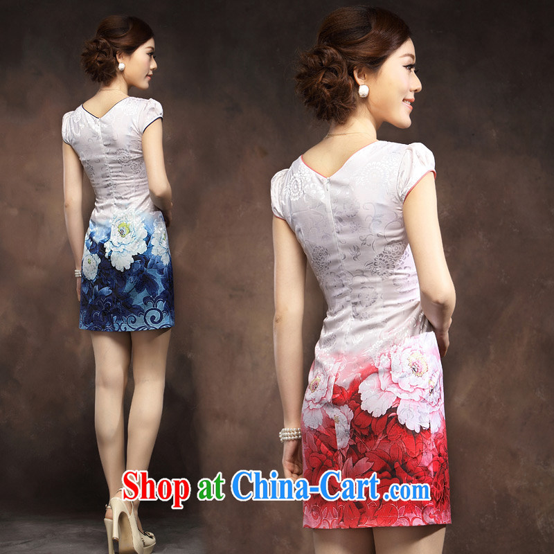 Dresses 2014 summer new cheongsam dress, short, Tang with elegant embroidered lady qipao pink XXXL, music, and shopping on the Internet