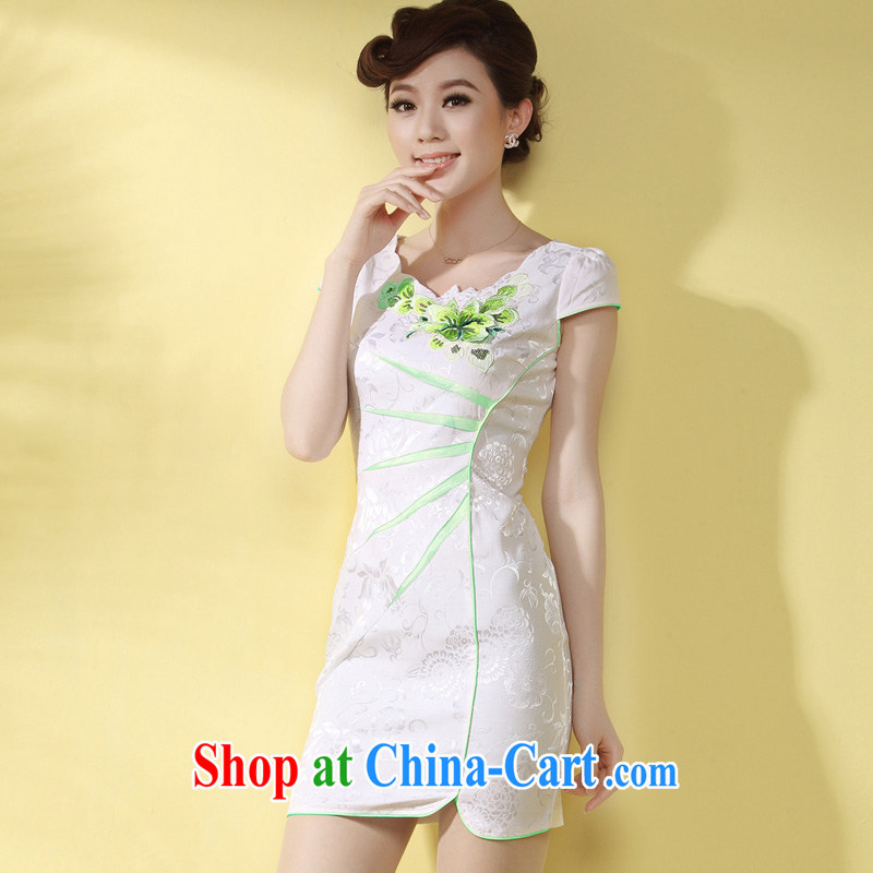 Dresses 2014 summer new cheongsam dress short stylish improvements Ms. elegant qipao day-light green flower XXXL