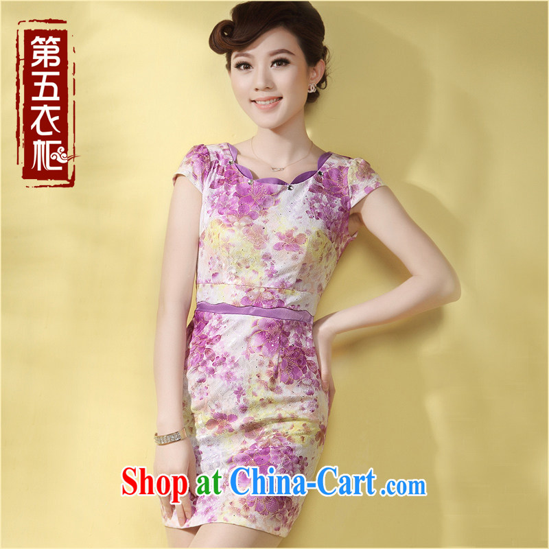 Dresses 2014 summer new cheongsam dress floral fashion improved girls' day-kei, elegant robes purple XXL
