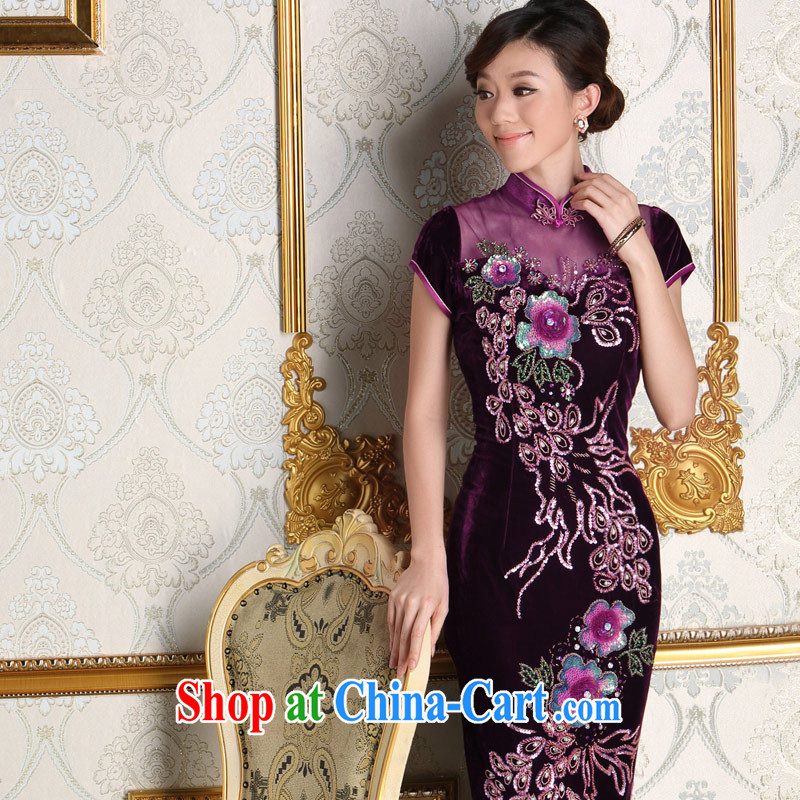 Dresses 2014 new bride's mother's wedding dresses antique noble purple long velvet dresses purple XXXL
