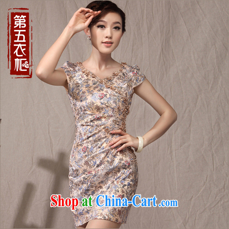 Dresses 2014 summer new cheongsam dress style Chinese beauty graphics thin floral modern day-robe, light brown XXL