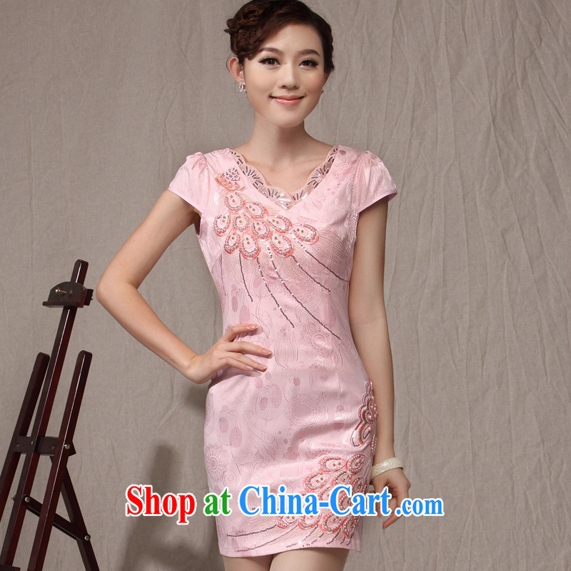 Dresses 2014 summer new cheongsam dress style lady National wind, embroidery antique dress dress white XXL