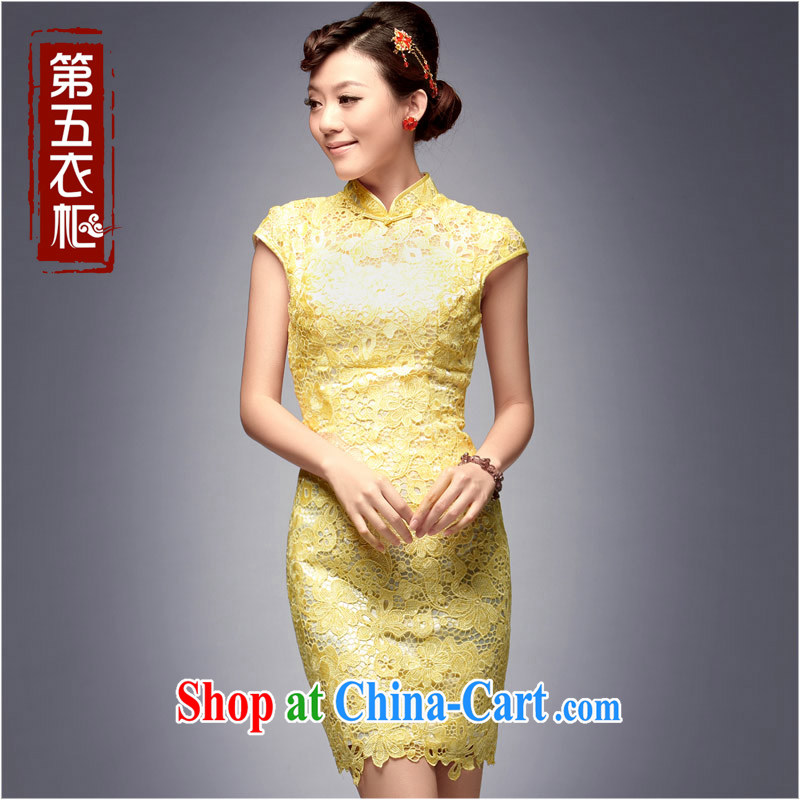 Dresses 2014 new brides betrothal back door dress short show beauty banquet daily female dresses yellow M