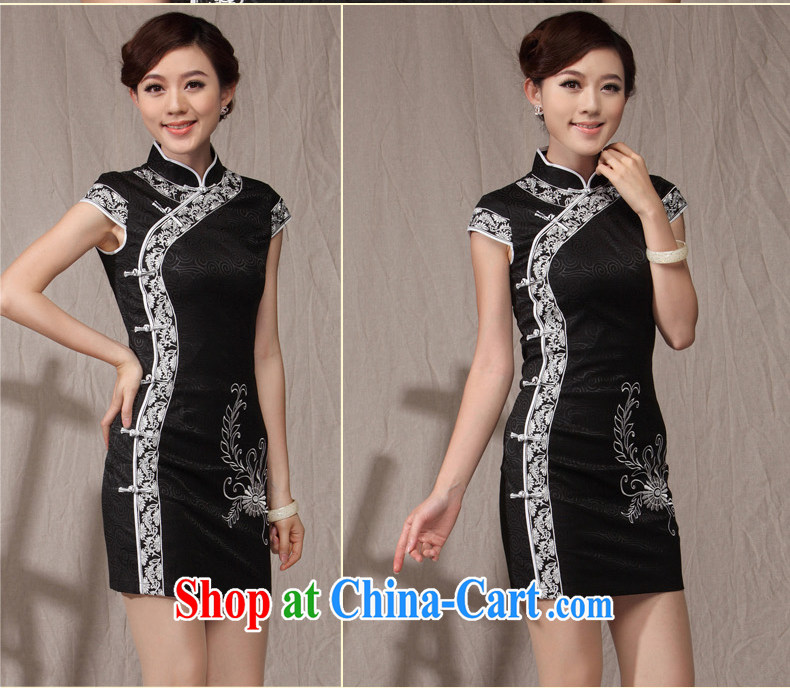 Dresses 2014 new cheongsam dress summer ethnic wind beauty graphics thin large code Mom, older qipao black XXL pictures, price, brand platters! Elections are good character, the national distribution, so why buy now enjoy more preferential! Health
