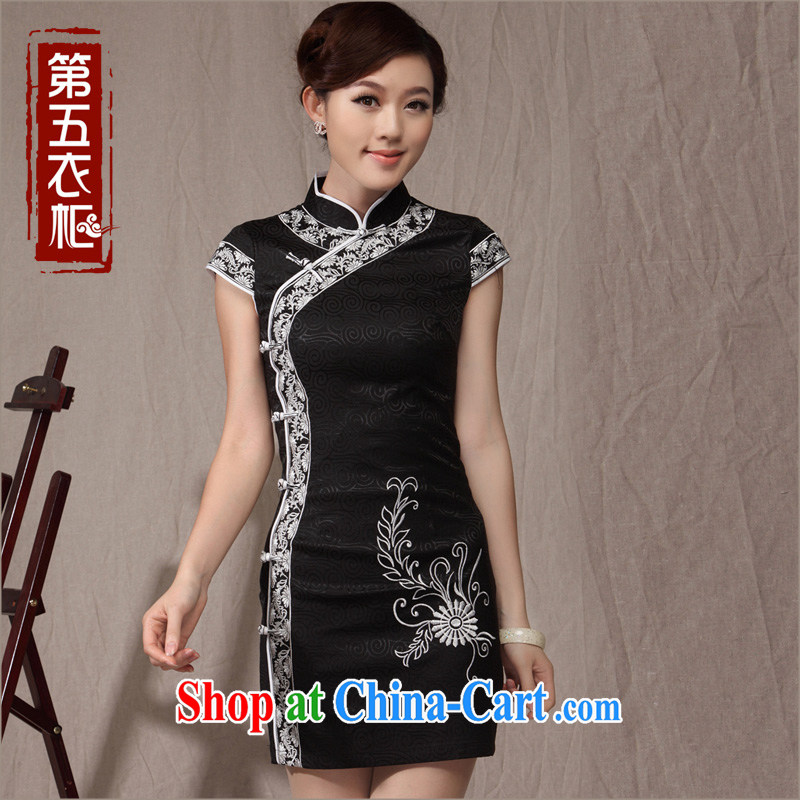 Dresses 2014 new cheongsam dress summer ethnic wind Sau San video thin large code Mom, older qipao black XXL