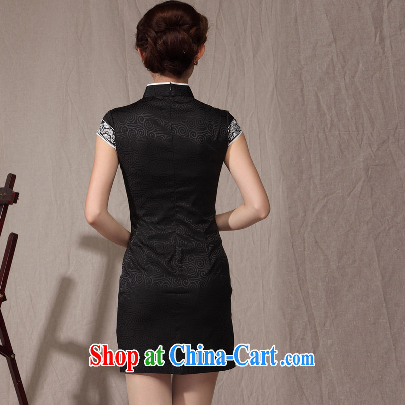 Dresses 2014 new cheongsam dress summer ethnic wind beauty graphics thin large code Mom, older qipao black XXL, music, dresses/Tang, and shopping on the Internet