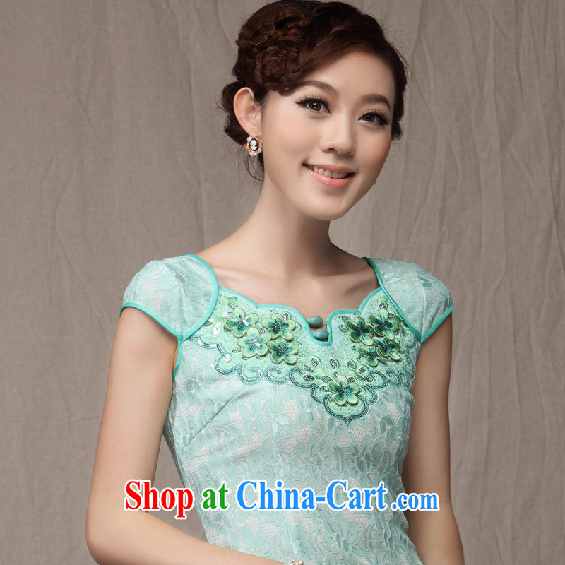 Dresses 2014 new cheongsam dress summer Chinese Chinese Embroidery sweet incense small wind cultivating Ki robe skirt Green S