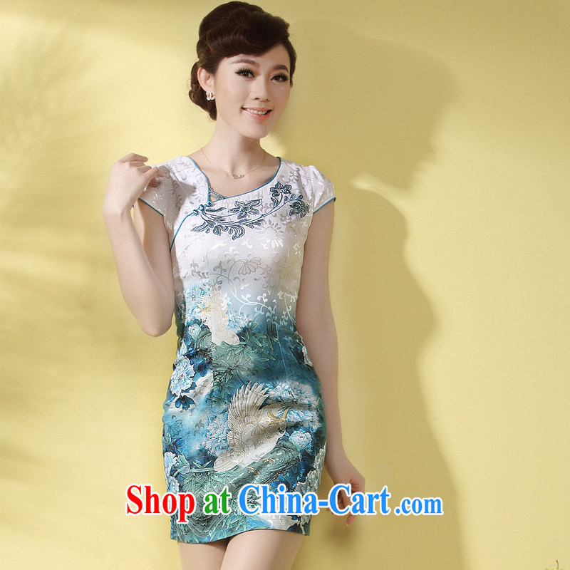 Dresses 2014 new cheongsam dress stylish summer improved sexy V short paragraph style beauty dress skirt Blue Green M