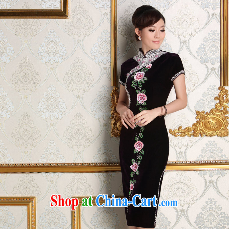 Dresses 2014 new autumn velvet dress beauty short, the code in the marriage feast with mother dresses purple L