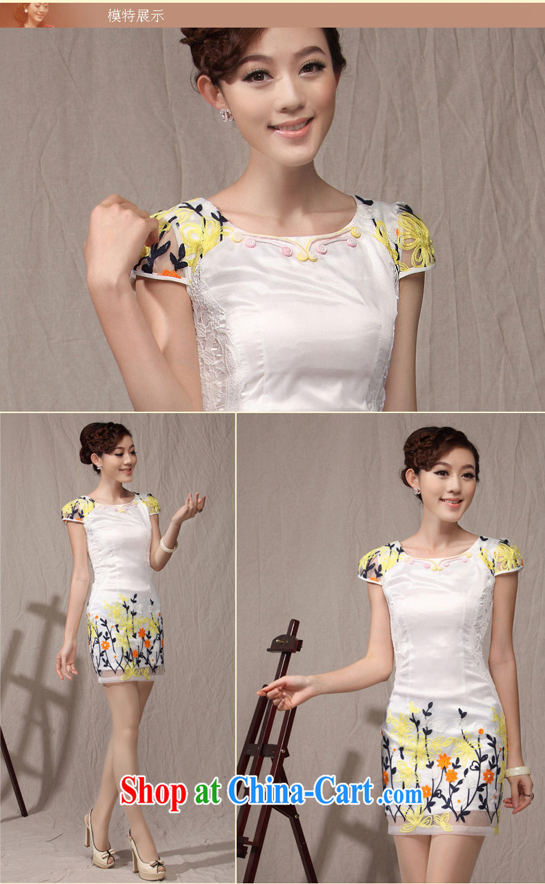 Dresses 2014 new cheongsam dress summer stylish embroidered lady improved cultivating daily teenage qipao pink XXL pictures, price, brand platters! Elections are good character, the national distribution, so why buy now enjoy more preferential! Health