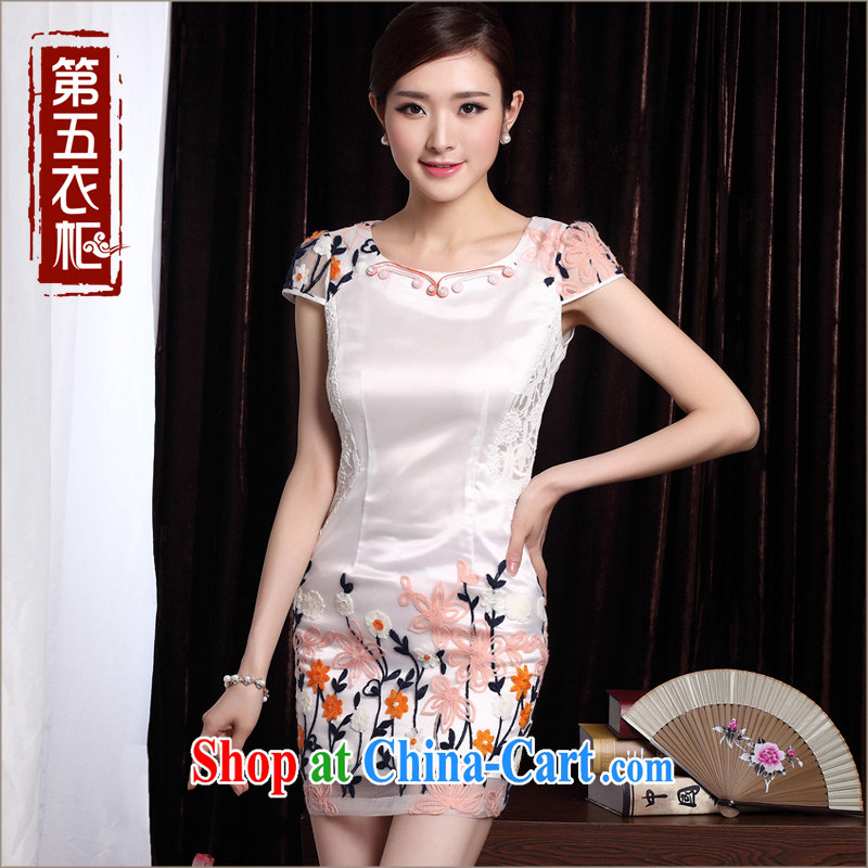 Dresses 2014 new cheongsam dress summer stylish embroidered lady improved cultivating daily teenage qipao pink XXL