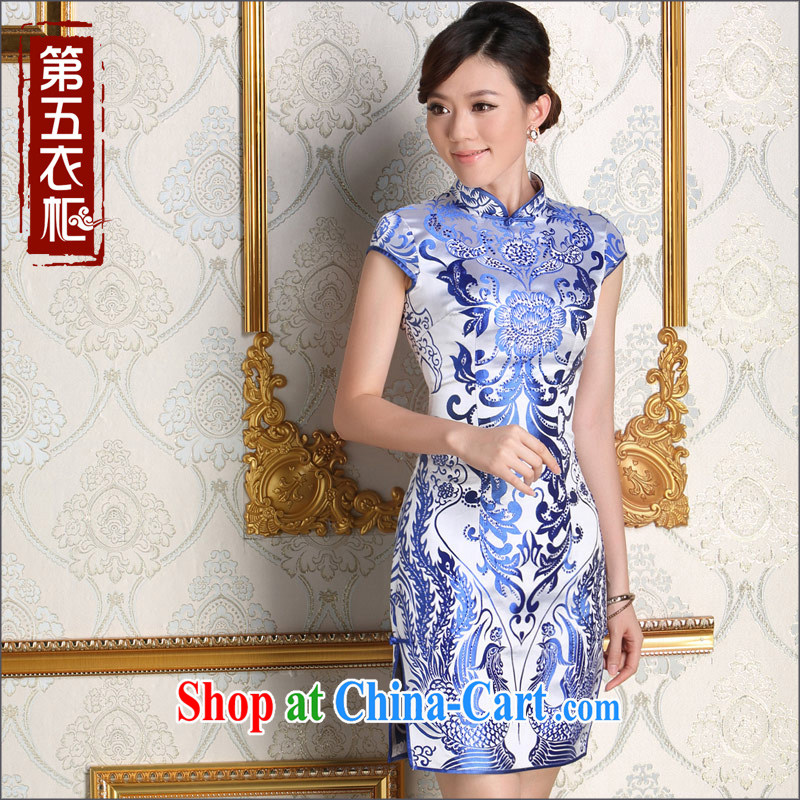 Dresses 2014 new autumn aura beauty blue and white porcelain antique dresses stylish beauty graphics thin cheongsam blue and white porcelain L
